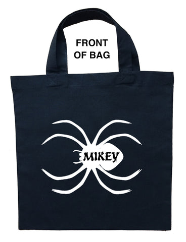 Spider Trick or Treat Bag, Personalized Spider Halloween Bag, Spider Loot Bag, Spider Candy Bag, Custom Spider Tote Bag