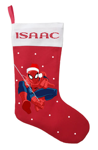 Spiderman Christmas Stocking - Personalized and Hand Made Spiderman Christmas Stocking