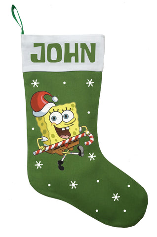 Spongebob Christmas Stocking, Personalized Spongebob Christmas Stocking, Spongebob Christmas Gift