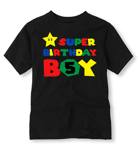 Super Birthday Boy Birthday Shirt, Personalized Super Mario Birthday Shirt