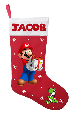 Super Mario Christmas Stocking, Custom Super Mario Stocking, Super Mario Christmas Present
