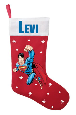 Superman Christmas Stocking - Personalized and Hand Made Superman Christmas Stocking