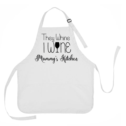 Mothers Day Apron, They Whine I Wine Apron, Mommys Kitchen Apron