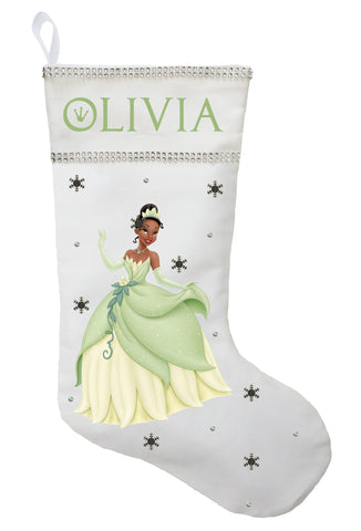 Princess Tiana Christmas Stocking - Personalized and Hand Made Princess Tiana Christmas Stocking