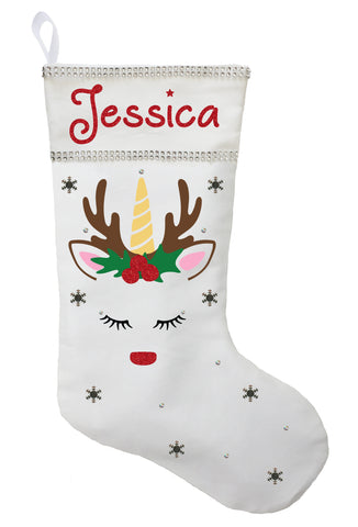Unicorn Christmas Stocking - Personalized and Hand Made Unicorn Christmas Stocking
