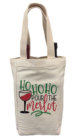 Ho Ho Ho Pour the Merlot Wine Gift Bag, Christmas Wine Gift Bag, Wine Christmas Tote Bag, Wine Gift Bag