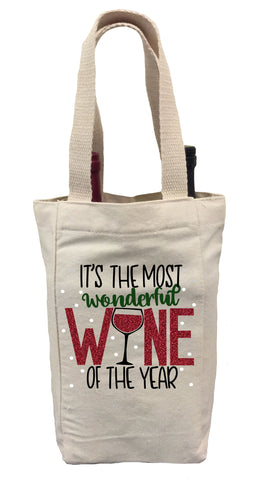 It's the Most Wonderful Wine of the Year Wine Gift Bag, Christmas Wine Gift Bag, Wine Christmas Tote Bag, Wine Gift Bag