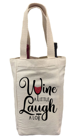 Wine a Little Laugh a Lot Wine Gift Bag, Wine Gift Bag, Wine Tote Bag, Wine Bag