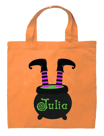 Witch Trick or Treat Bag - Personalized Witch Legs and Hat Halloween Bag