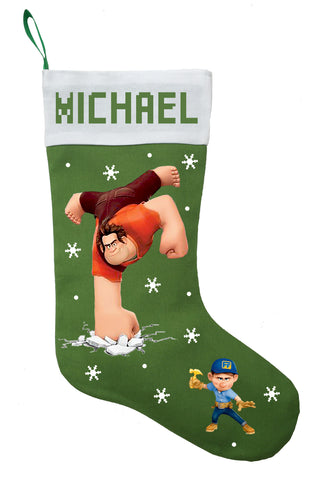 Wreck It Ralph Christmas Stocking, Personalized and Hand Made Wreck It Ralph Christmas Stocking