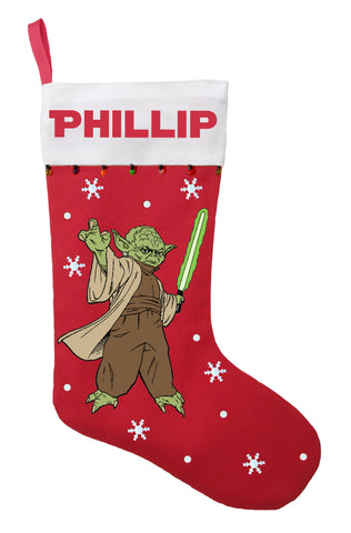 Yoda Christmas Stocking - Personalized and Hand Made Yoda Christmas Stocking