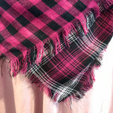 Magenta buffalo check/plaid blanket scarf
