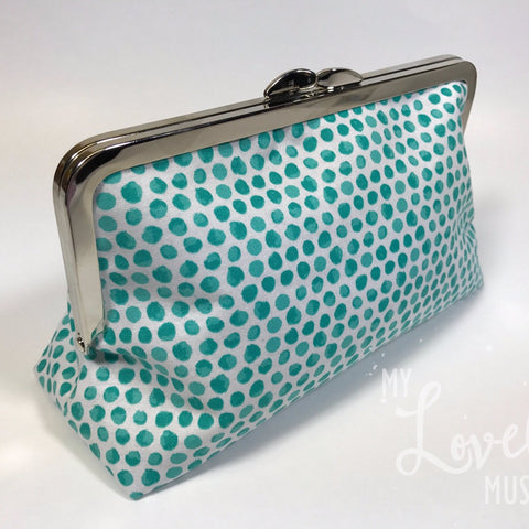 Turquoise Dot Clutch