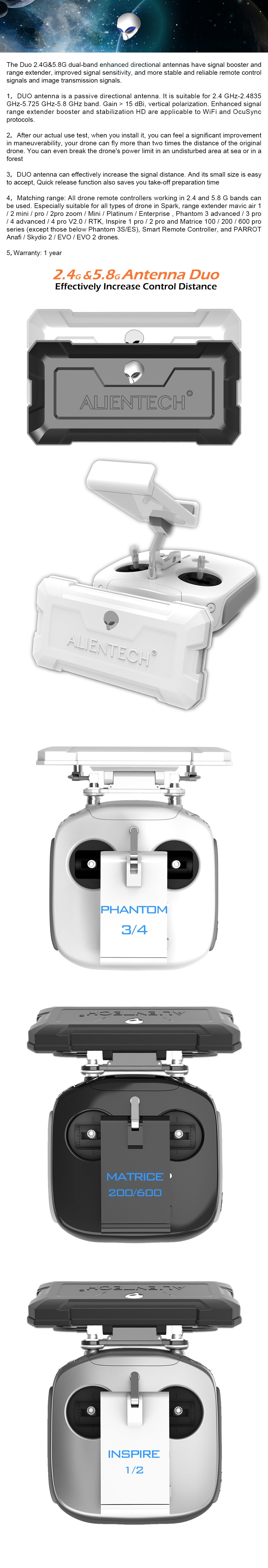 ALIENTECH DUO antenna for phantom inspire drones