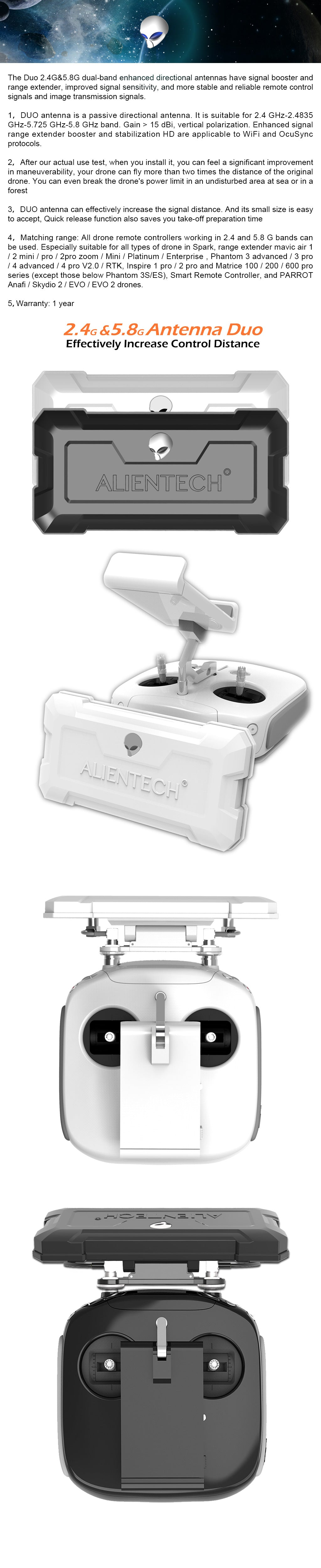 Alientech duo antenna for DJI Phantom 3 4 Advanced Pro V2.0 RTK drones