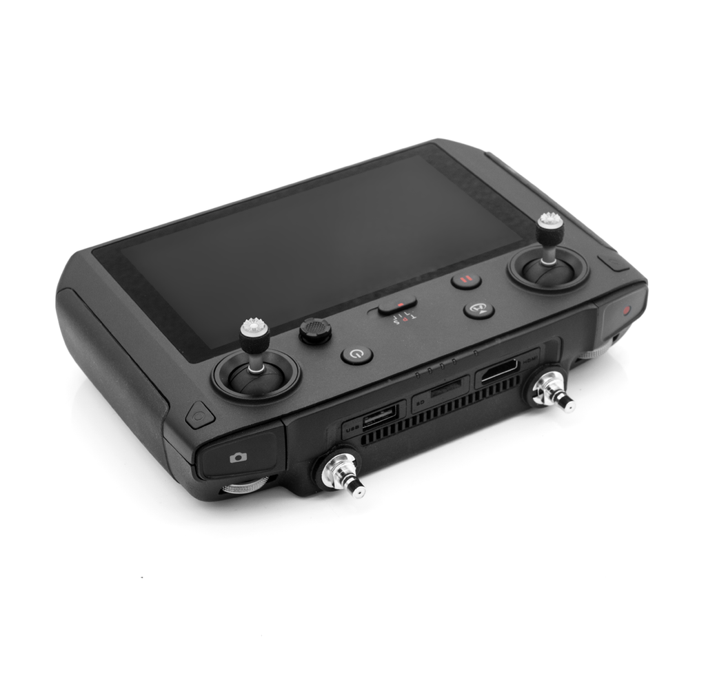 The controller of the modified DJI Smart Controller  can be equipped with an external ALIENTECH antenna signal booster for a long-range extend.