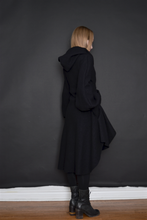 FW 2020: Tournure Hooded Coat w/Bishop Sleeves in Pure Wool