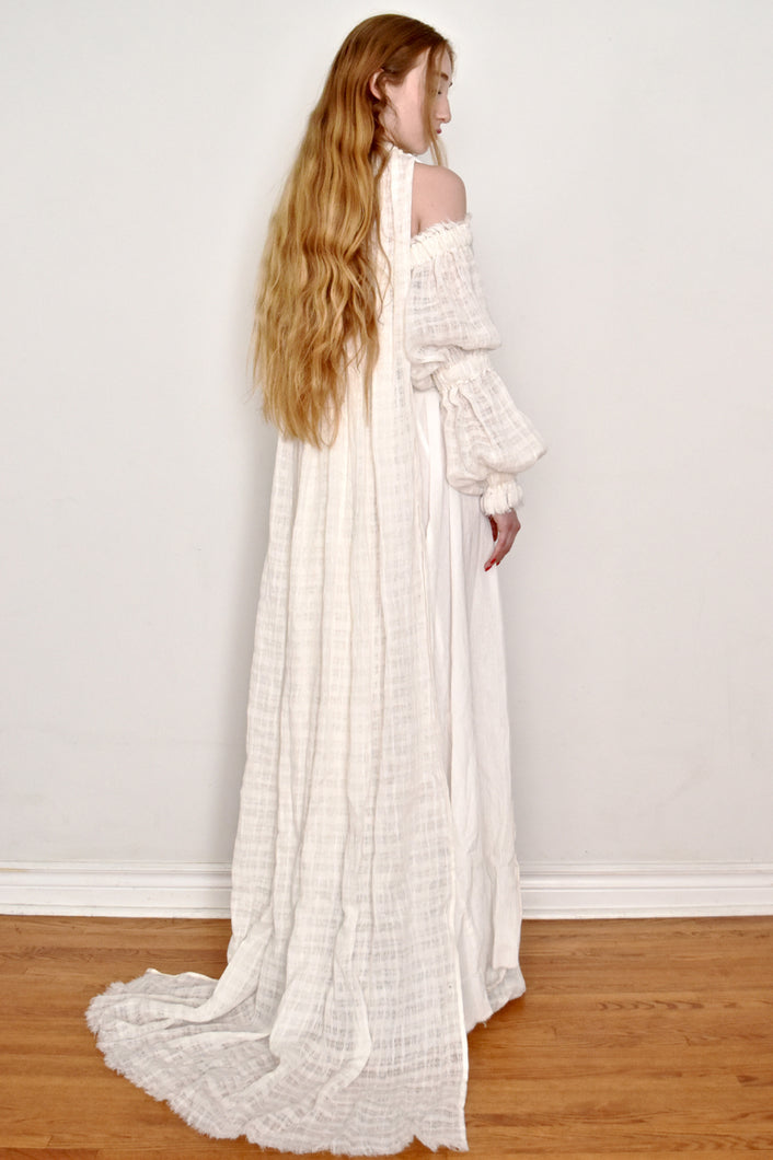 Spring 2019: Bishop Sleeve Cape Gown in Ivory Linen