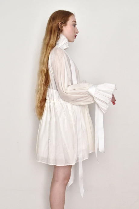 Spring 2019: High Collar Ruffle Mini in Ivory