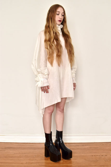 Spring 2019: Ruff Collar Tunic in Silk-Cotton (Ivory)