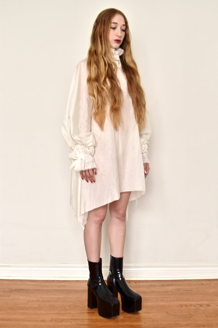 Archive: Ruff Collar Tunic in Silk-Cotton (Ivory)