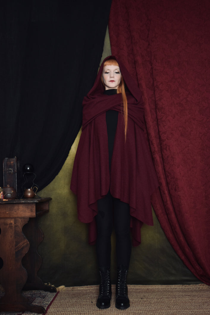 FW 2020: Mythic Cape in Oxblood Boiled Wool