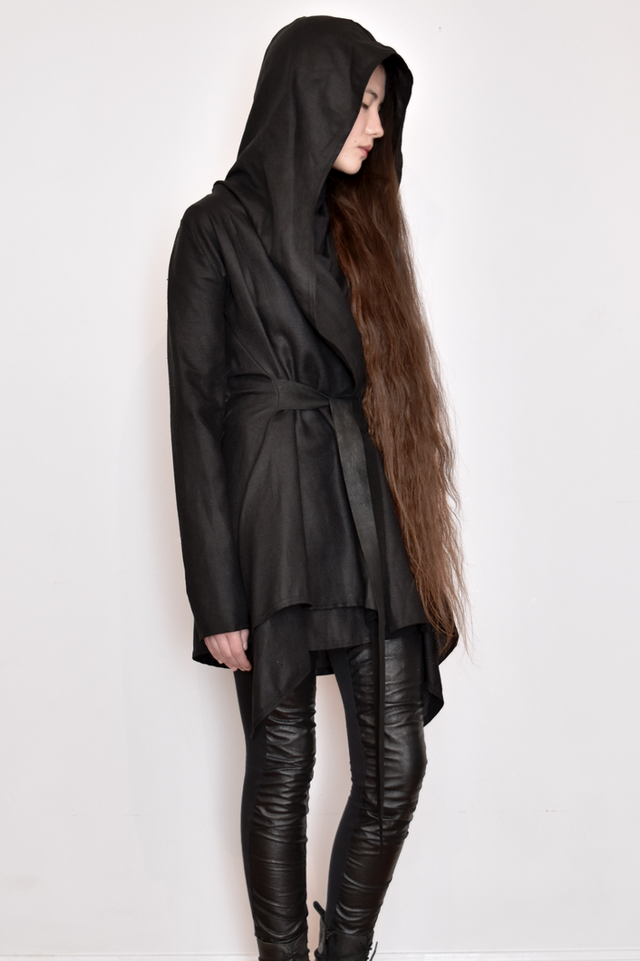 Archive: Hooded Linen Jacket w/Leather Ties