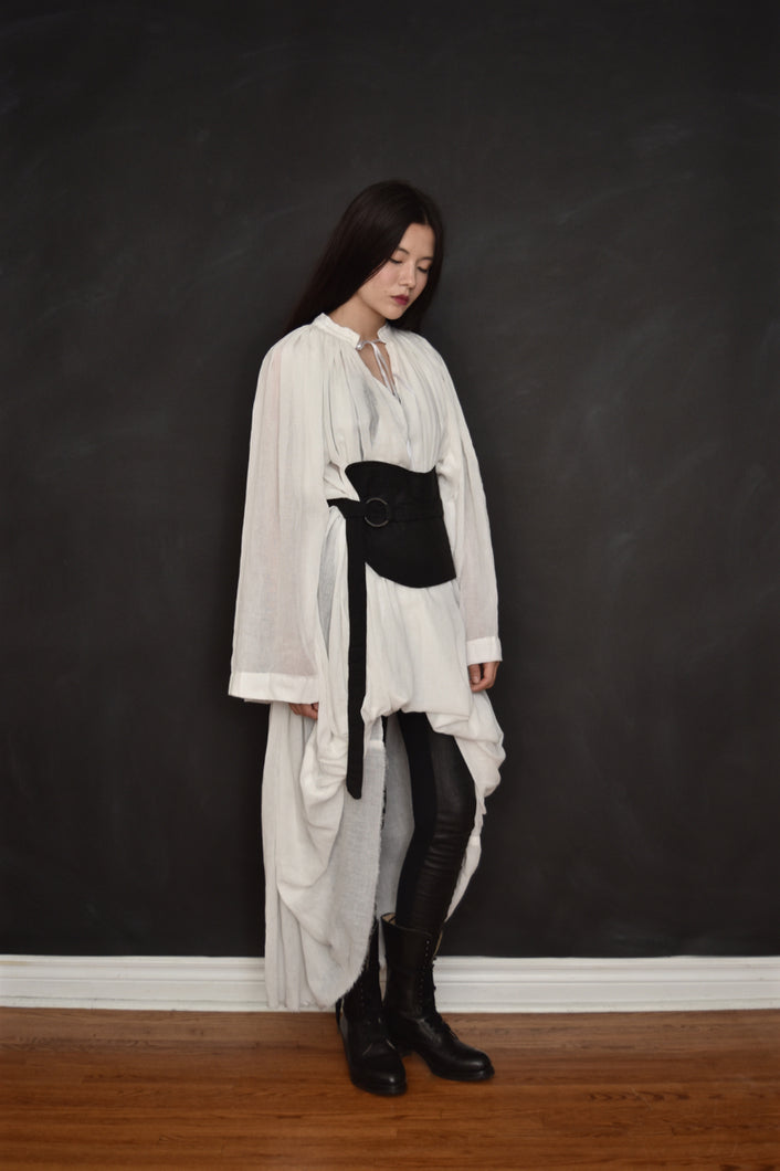 FW18 Alchemist Shirtdress w/Stand Collar in Silk Cotton Gauze (Ivory and Black)