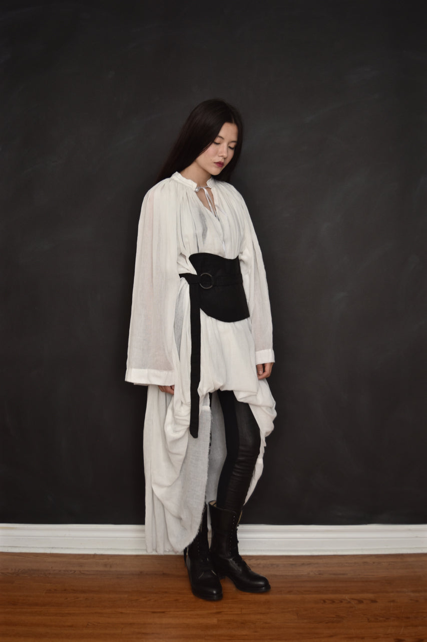 FW18 Alchemist Shirtdress w/Stand Collar in Ivory Cotton Gauze (Limited Edition)