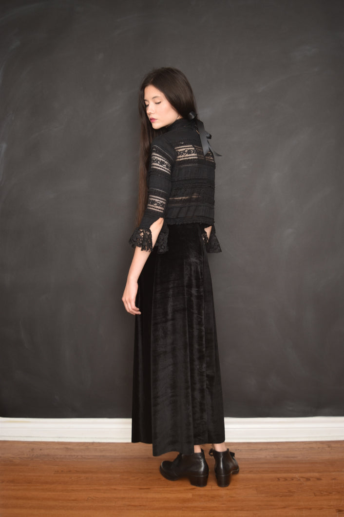 Archive: Keres A-Line Velvet Maxi Skirt w/Invisible Waist