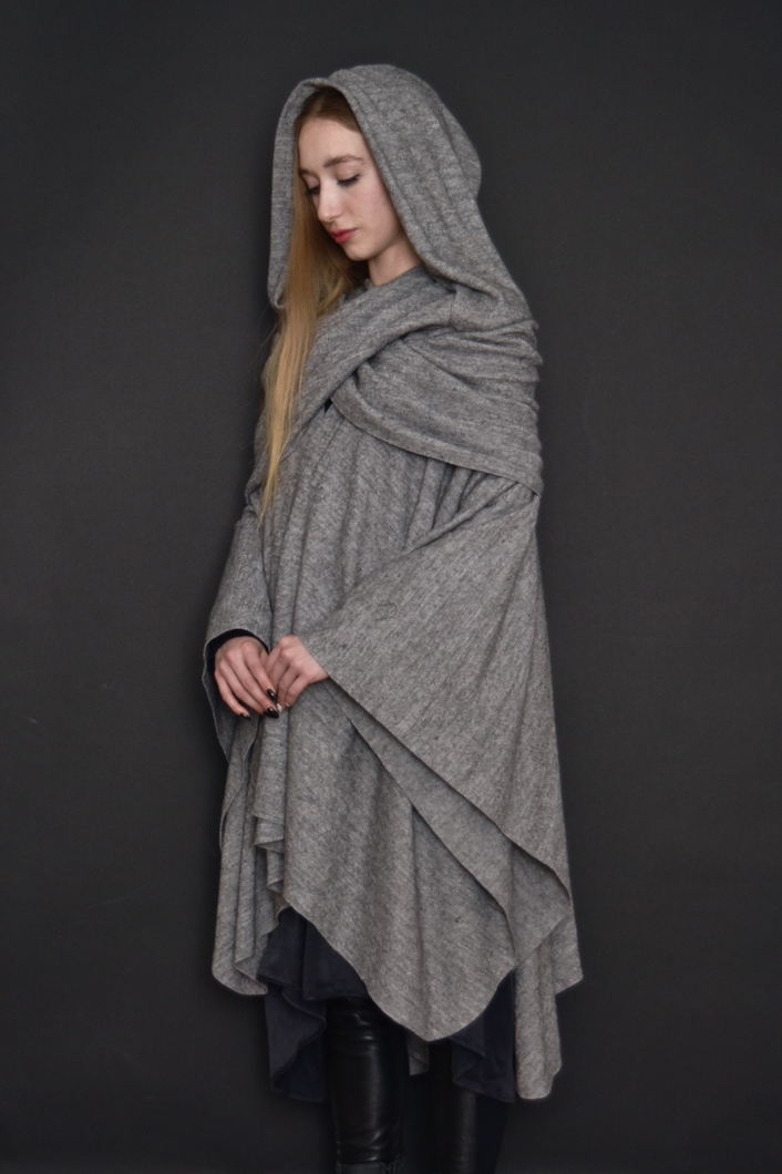 Capsule FW19: Mythic Cape in Light Gray Melange Boiled Wool (Limited Edition)