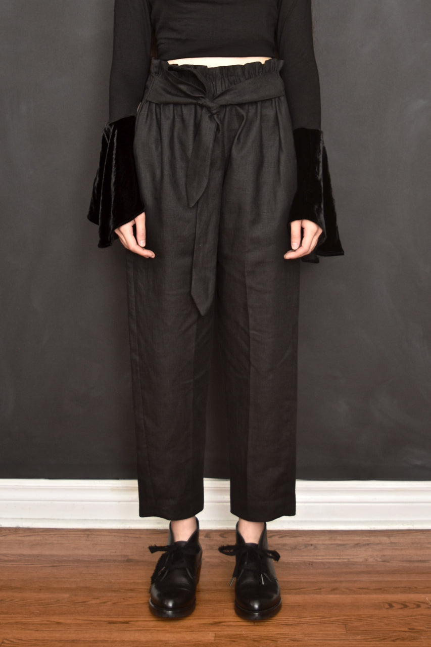 FW18 Cigarette Trousers w/Paperbag Waist in Pure Linen