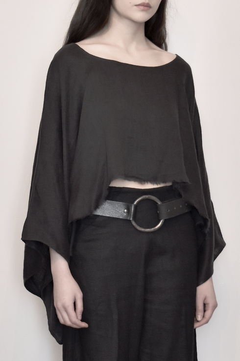 Archive: Wide Sleeve Draped Top (Washed Linen)
