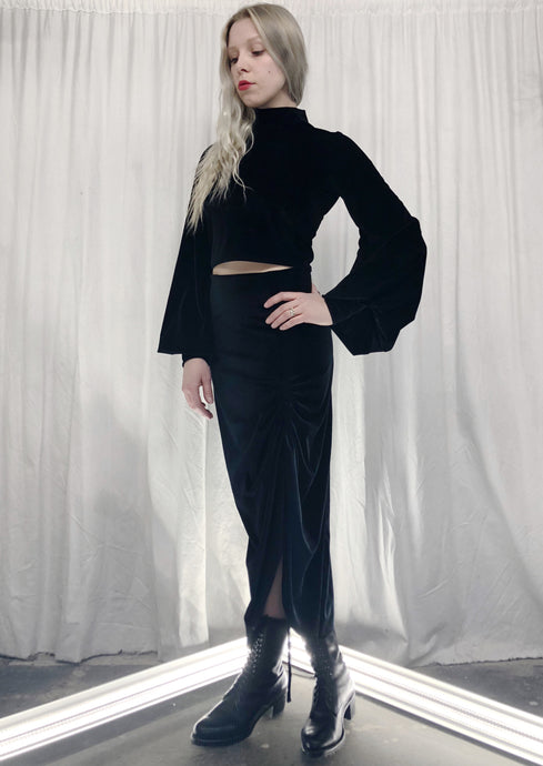 Winter 2019: Velvet Stand Collar Cropped Top w/Bishop Sleeves