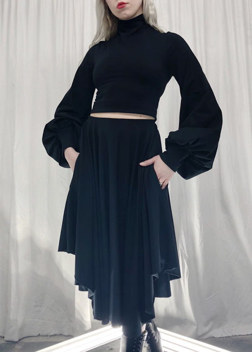 Winter 2019: High Collar Cropped Top w/Bishop Sleeves