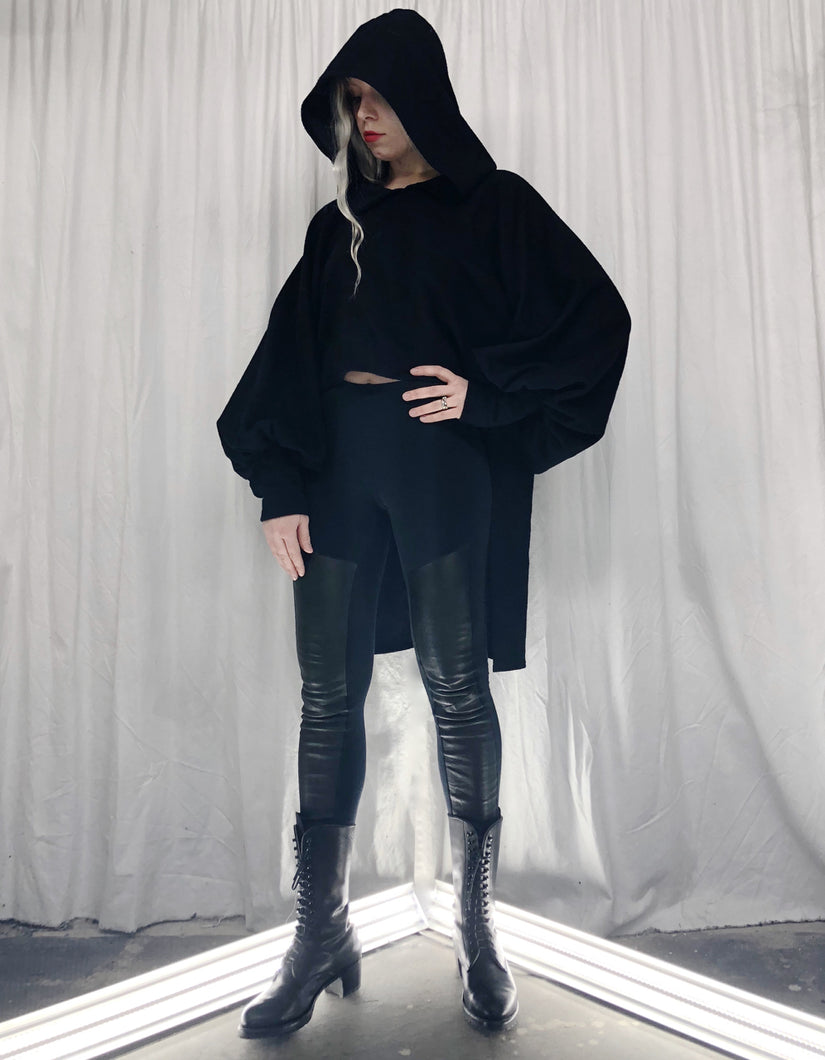 Winter 2019: Bishop Sleeve Step Hem Tunic w/Hood