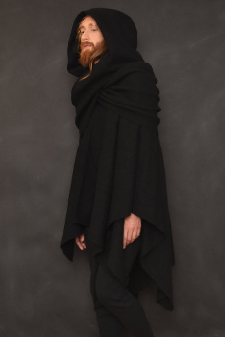 FW18 Unisex: Mythic Cape in Heavy Wool Boucle (Black)