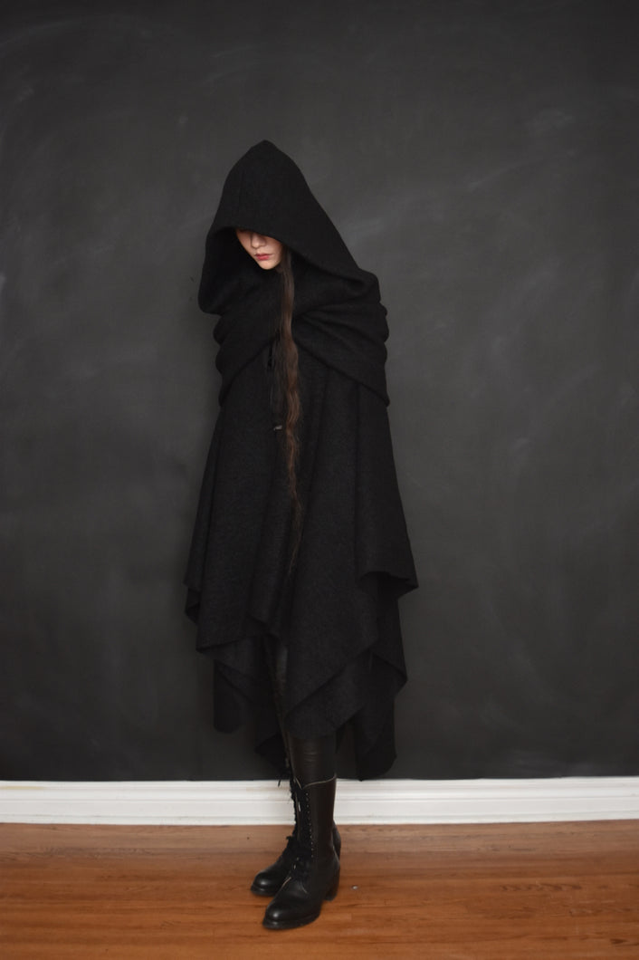 Archive: Mythic Cape in Heavy Wool Boucle (Black)