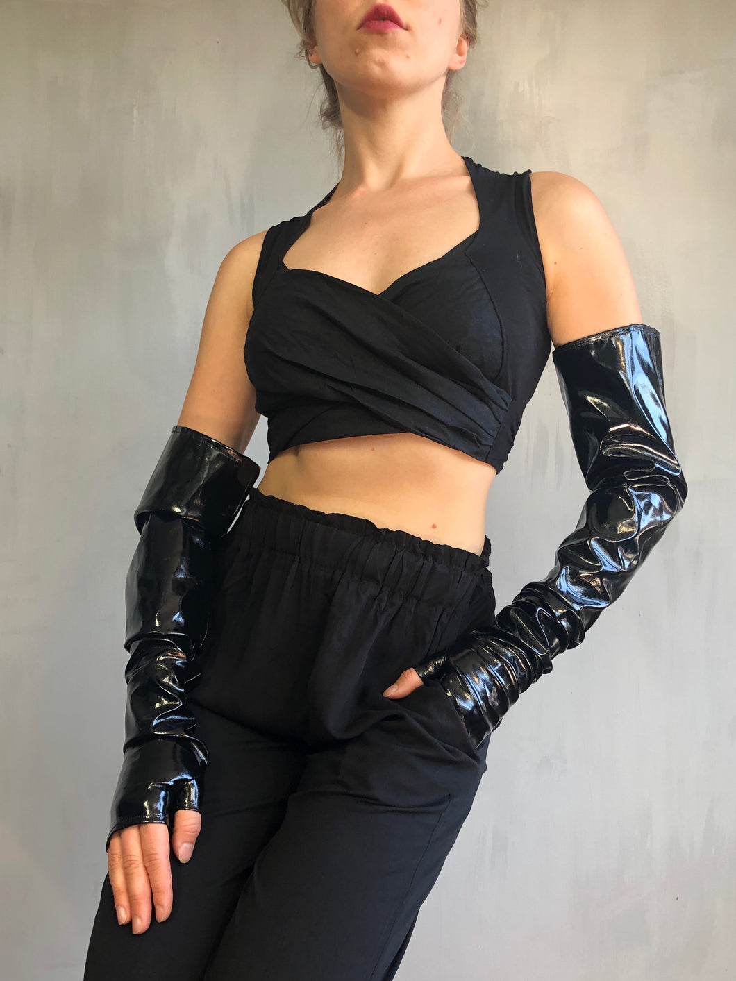 Sample Sale: Fingerless Opera Gloves in Vinyl (S/M)