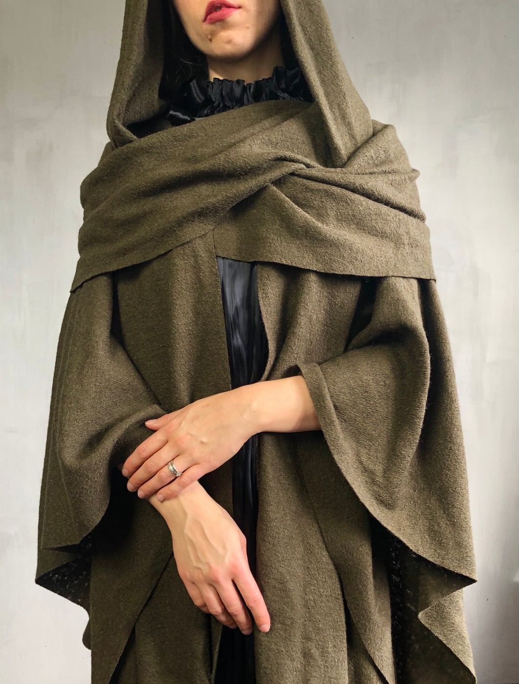 Archive 2021: Mythic Cape in Oakmoss Boiled Wool (Limited Edition)