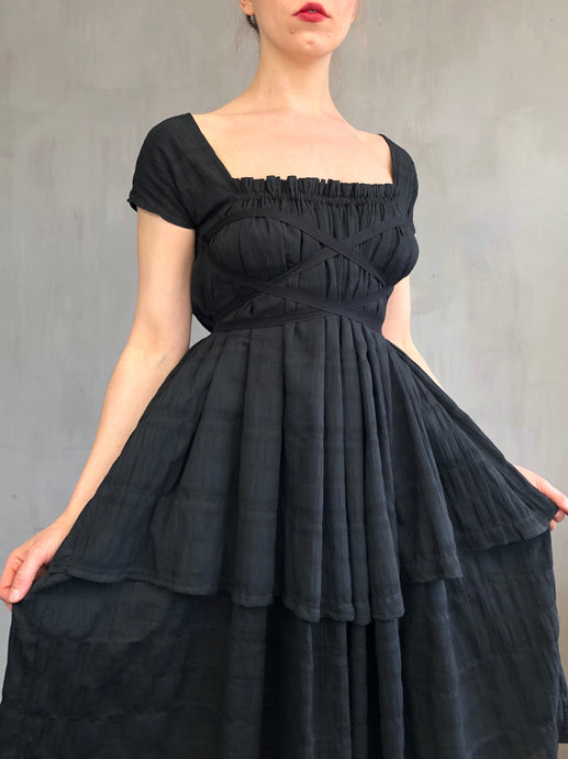 Spring 2021: Cap Sleeve Day Dress in Washed Black Cotton