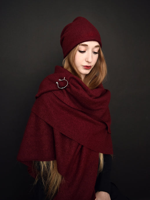Capsule FW19: Shawl w/Pennanular Pin in Oxblood (Limited Edition)