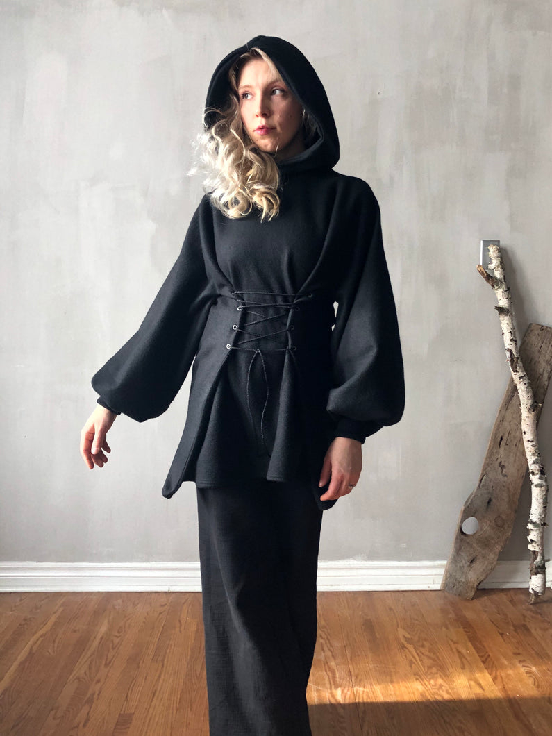 Winter 2020: Pleated Sleeve Hooded Tunic w/Corset Lace