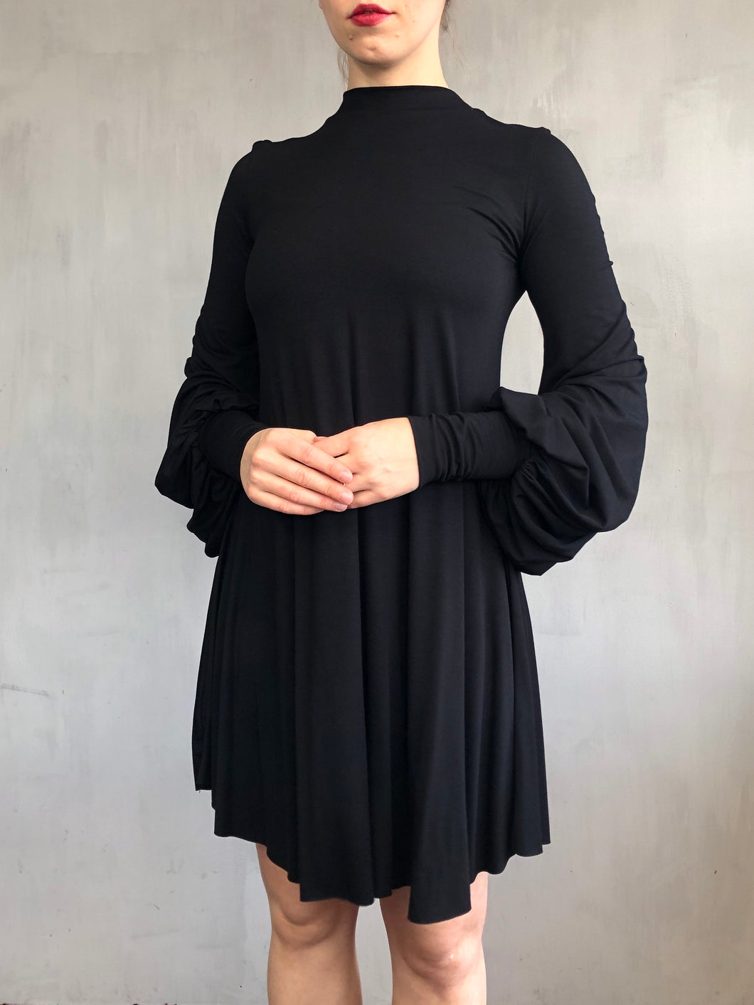 Spring 2021: Bishop Sleeve Mini Dress in Black