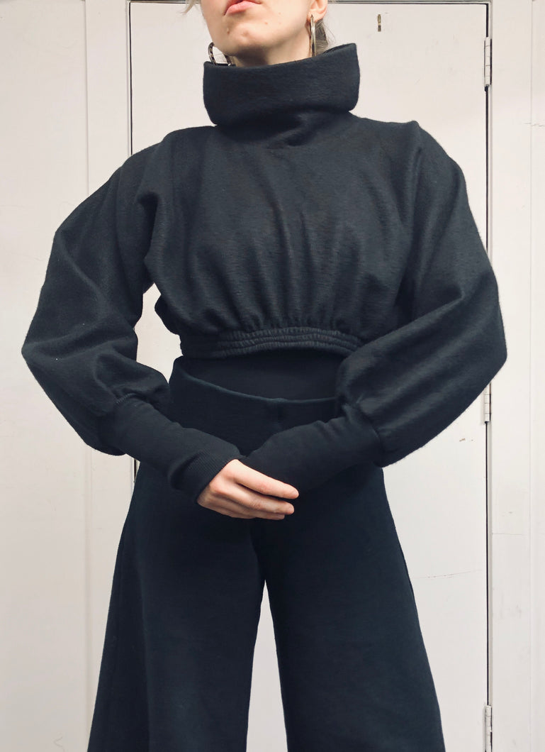 Sample Sale: Funnel Pullover w/Pleated Sleeve, S/M
