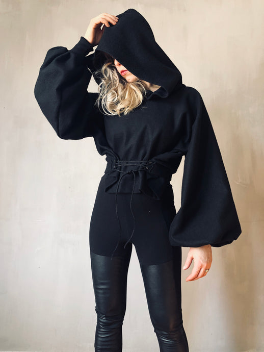 Winter 2020: Pleated Sleeve Hoodie w/Corset Lace