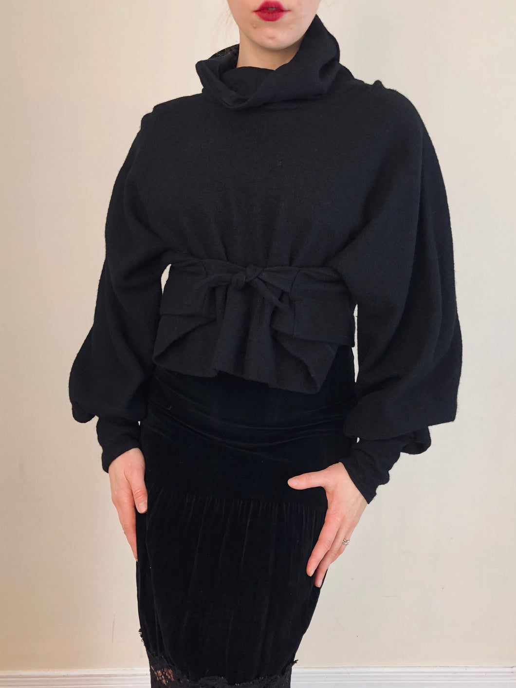 Sample Sale 2021: Black Wool Funnel Pullover w/Triangle Ties (One Size)