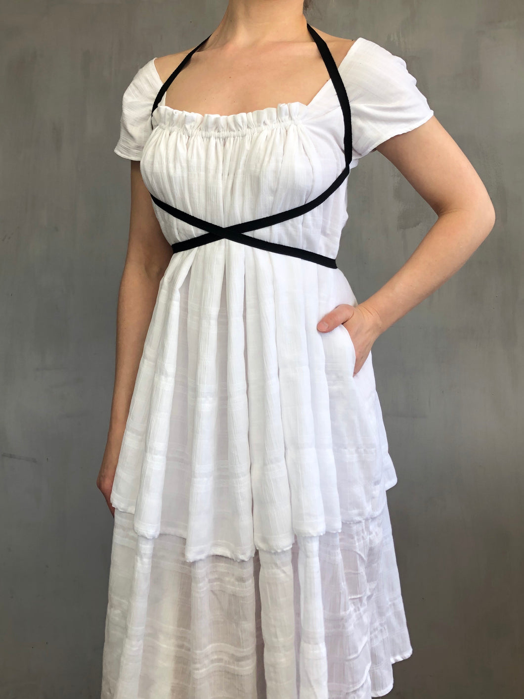 Spring 2021: Cap Sleeve Day Dress in White Cotton