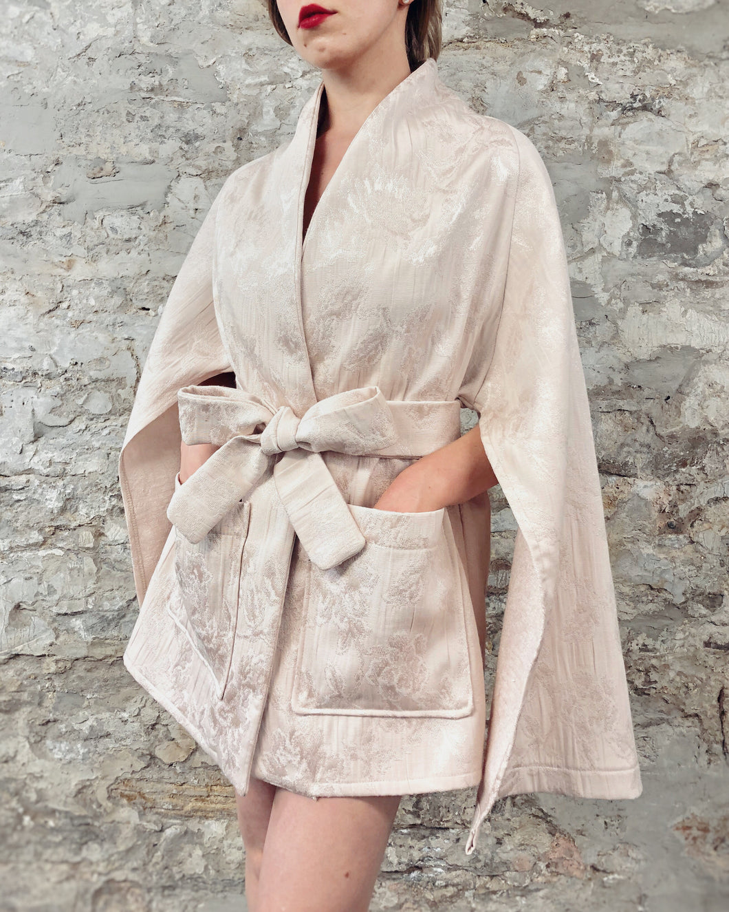 Summer 2020: Cape Sleeve Jacket in Blush Brocade