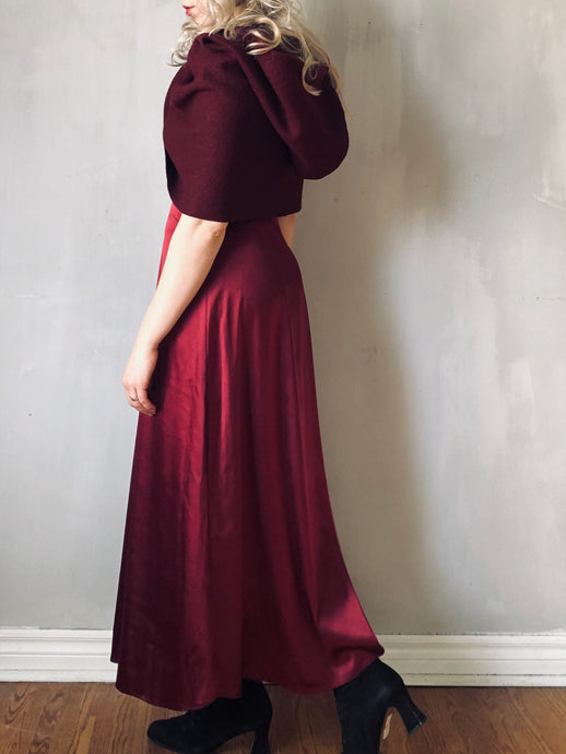Winter 2020: Silk Column Skirt in Oxblood